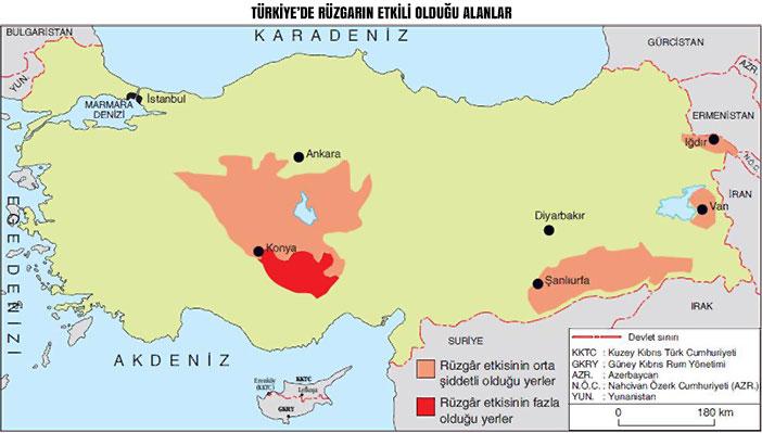 Türkiye'de Rüzgarın Etkili Olduğu Alanlar Haritası