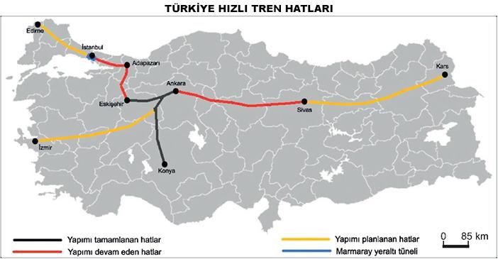 Türkiye Hızlı Tren Hatları Haritası