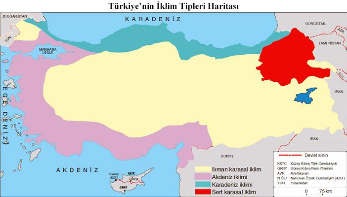 Türkiye'nin İklim Tipleri Haritası