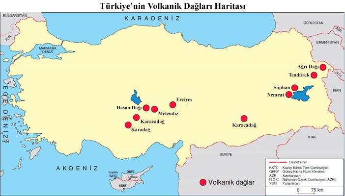 Türkiye'nin Volkanik Dağları Haritası
