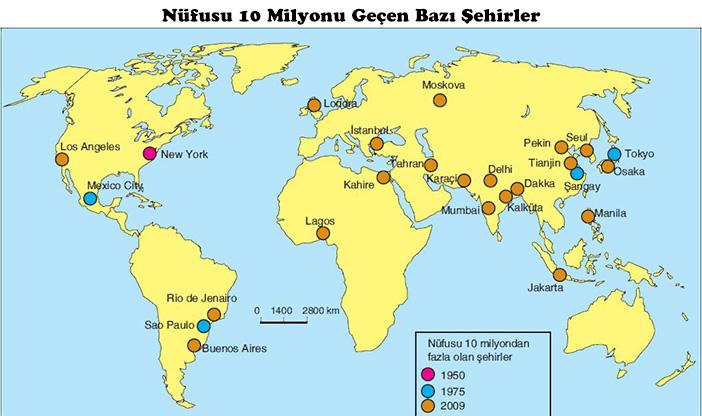 Nüfusu 10 Milyonu Geçen Şehirler Haritası