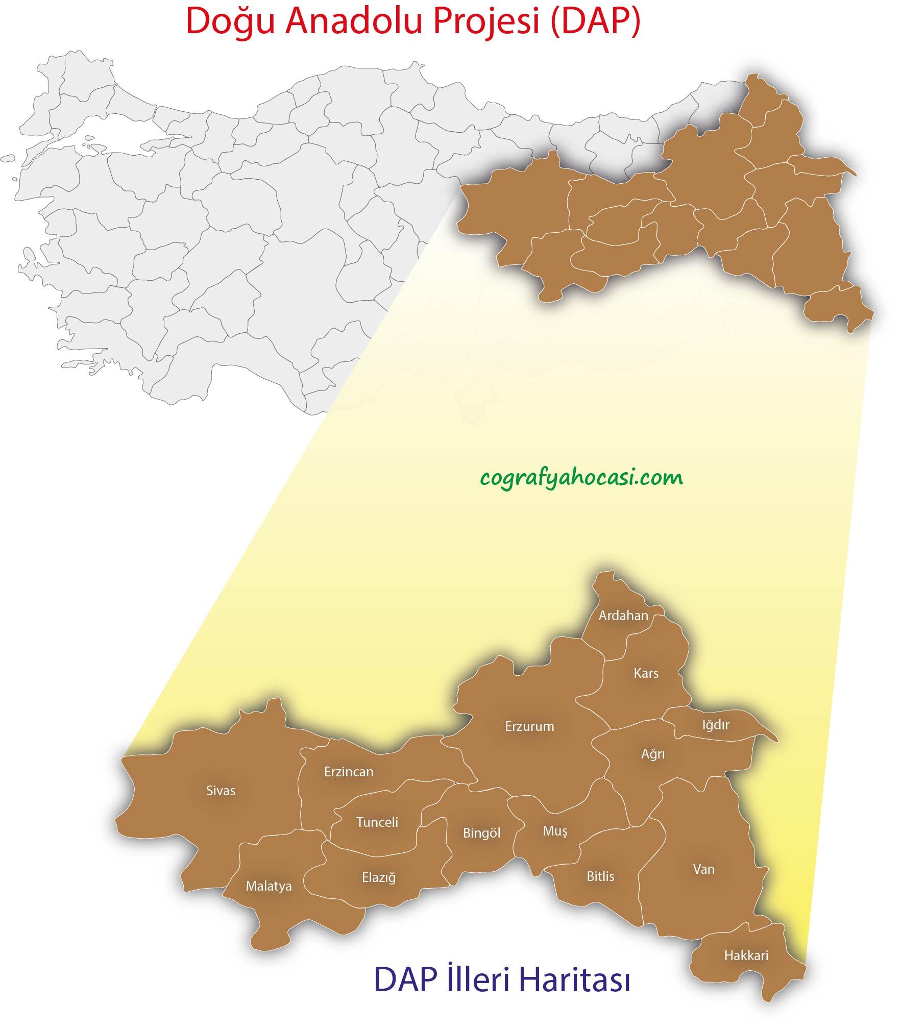 Doğu Anadolu Projesi Harita