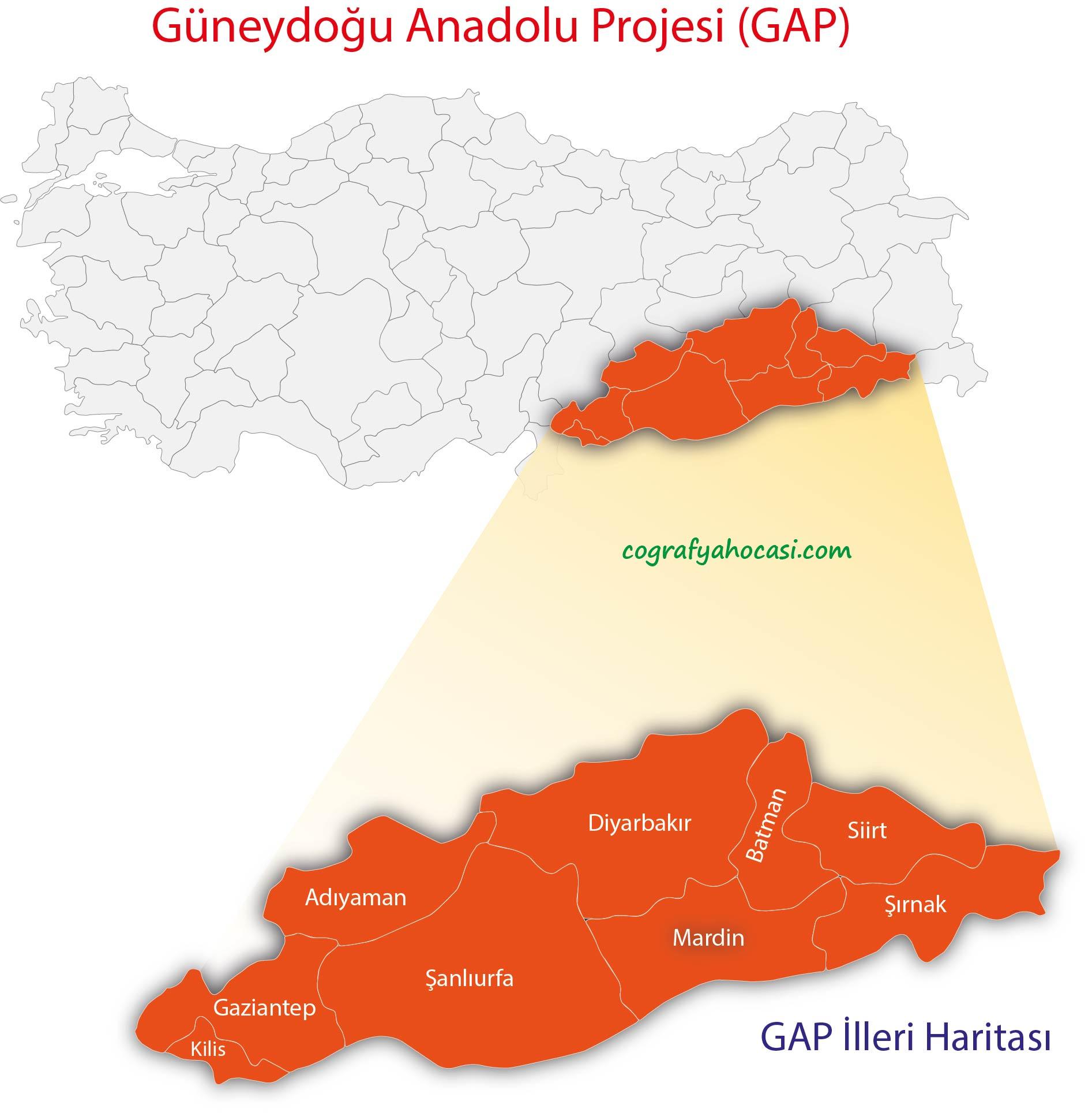 Güneydoğu Anadolu Projesi Harita