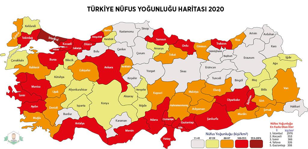 Türkiye Nüfus Yoğunluğu Haritası 2020
