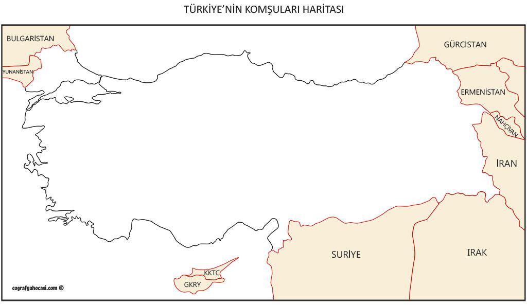 Türkiye'nin Komşuları Haritası
