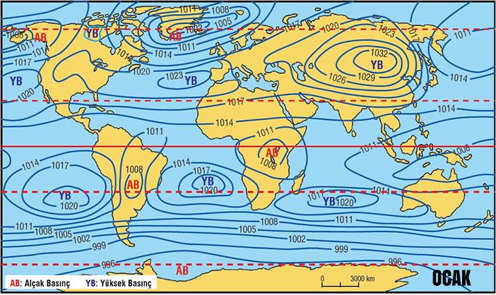 Dünya Ocak Ayı İzobar Haritası