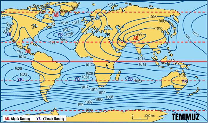 Dünya Temmuz Ayı İzobar Haritası