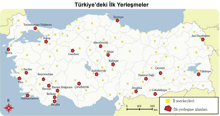 Anadolu'da ilk Yerleşim Yerleri Haritası