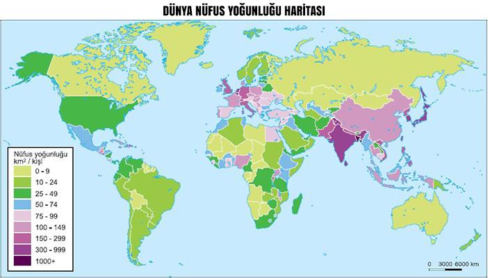 Dünya Nüfus Yoğunluğu Haritası