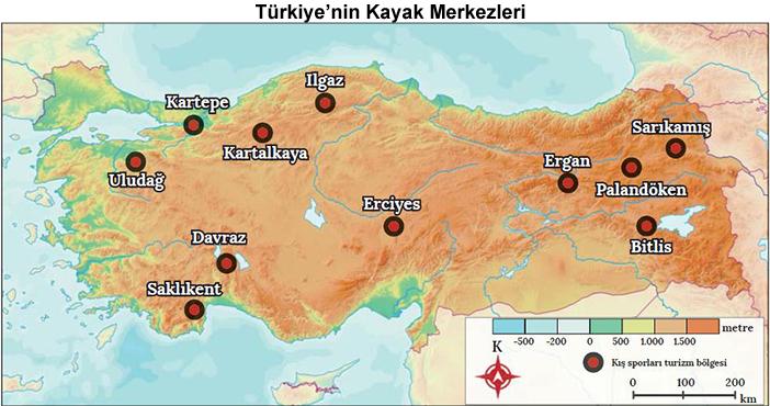 Türkiye'nin Kayak Merkezleri Haritası