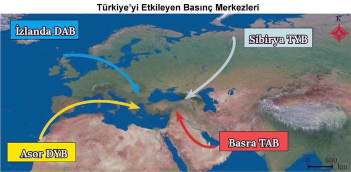 Türkiye'yi Etkileyen Basınç Merkezleri Haritası