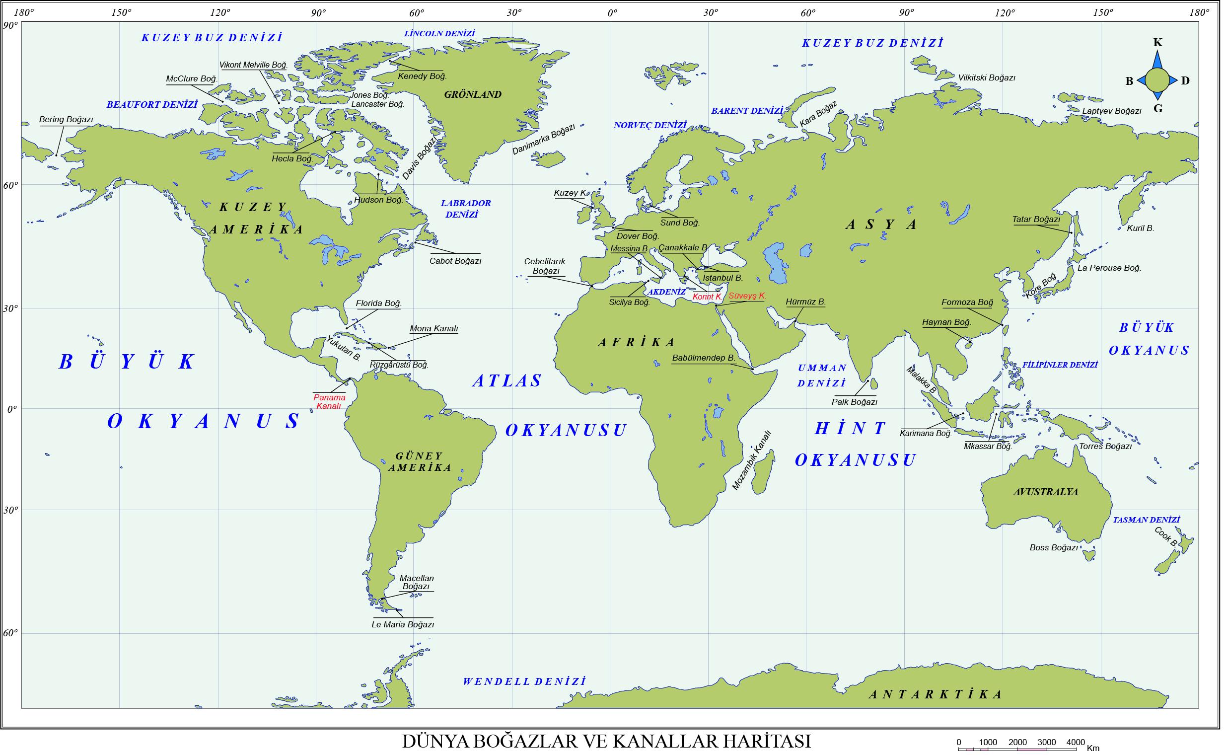 Dünya Boğazlar ve Kanallar Haritası