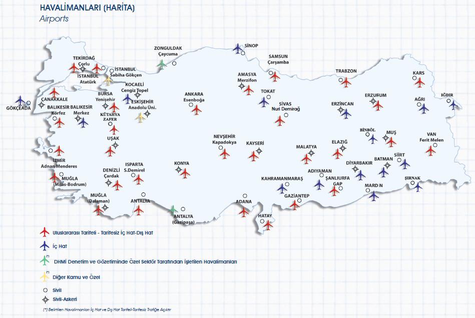 Türkiye Havalimanı Haritası