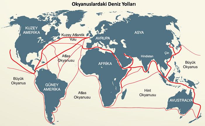 Okyanuslardaki Deniz yolları Haritası