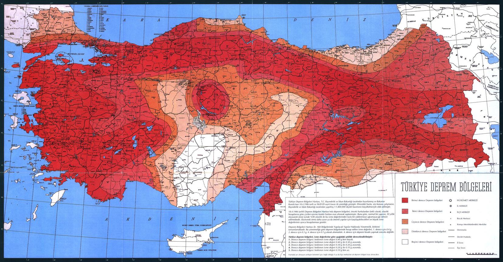 Türkiye Deprem Bölgeleri Haritası