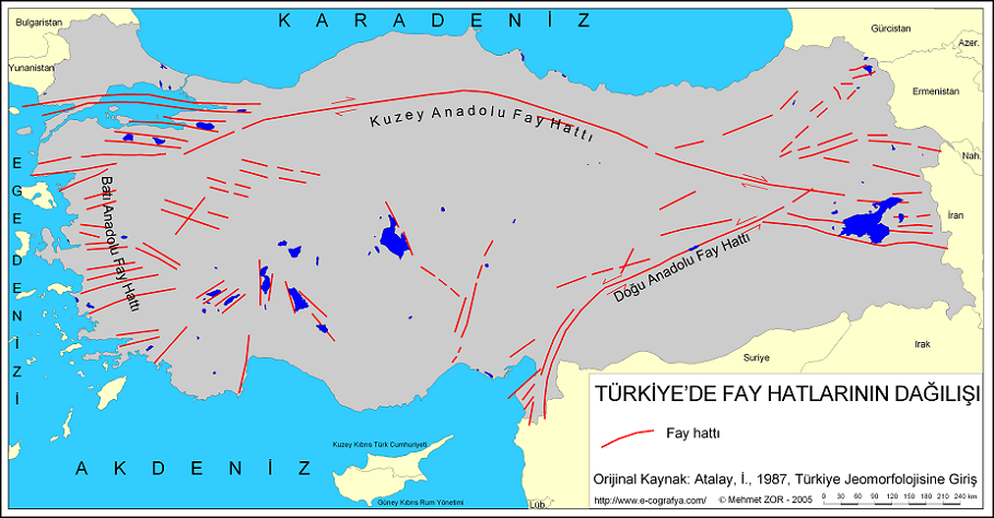 Türkiye Fay Hattı Haritası