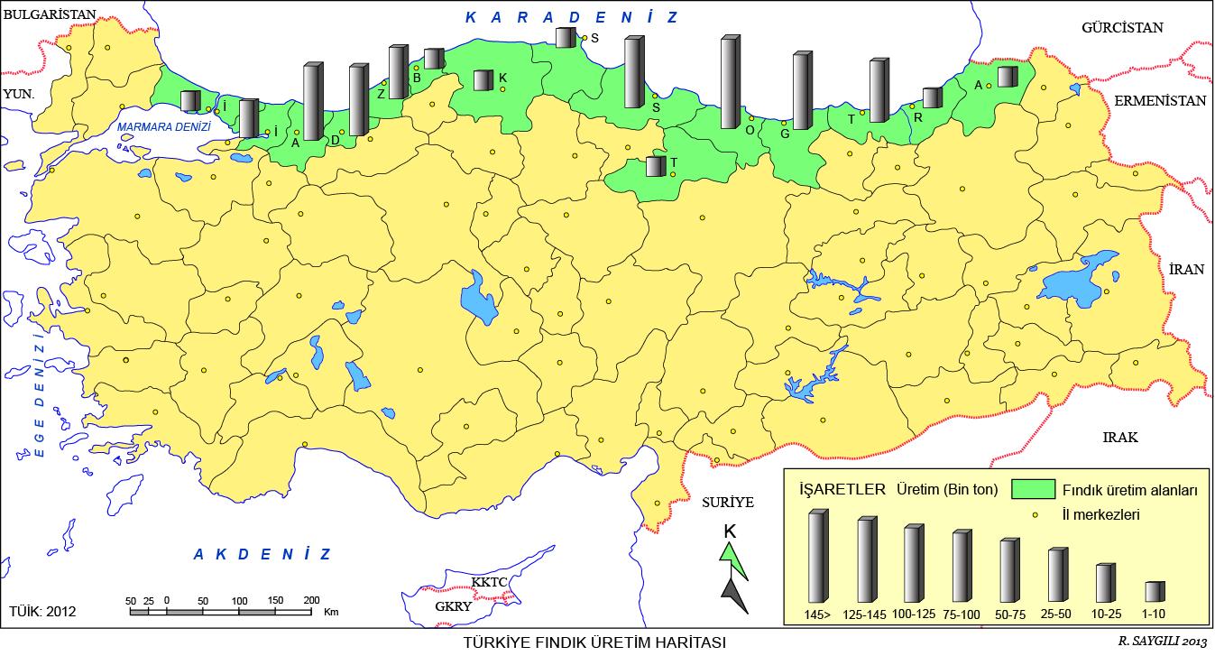Türkiye Fındık Üretim Haritası