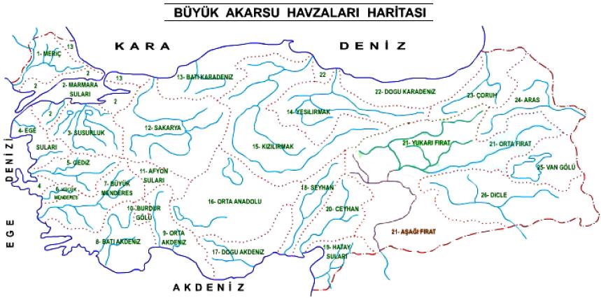 Türkiye'nin Akarsu Havzaları Haritası