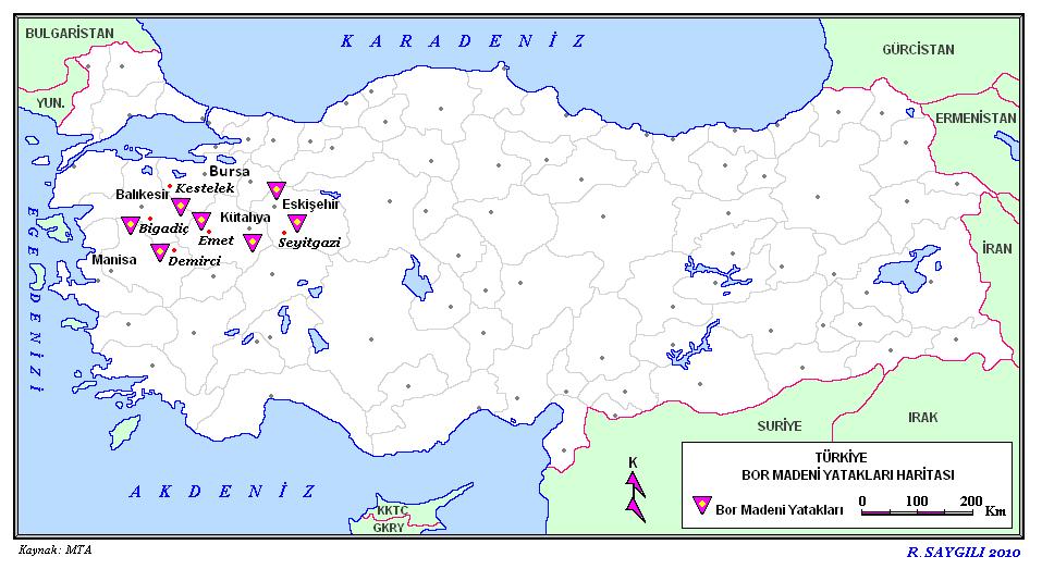 Türkiyenin bor madeni yatakları haritası