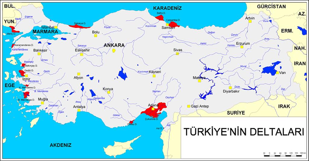 Türkiyenin Delta Ovaları haritası