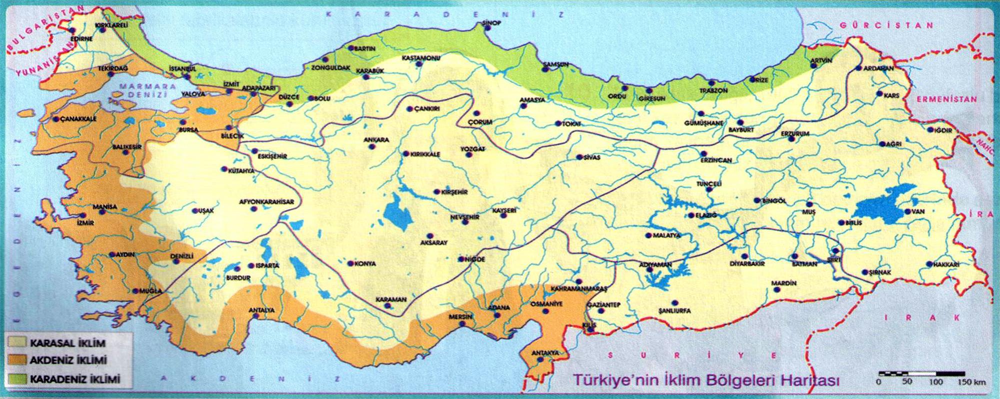 Türkiyenin iklim bölgeleri haritası