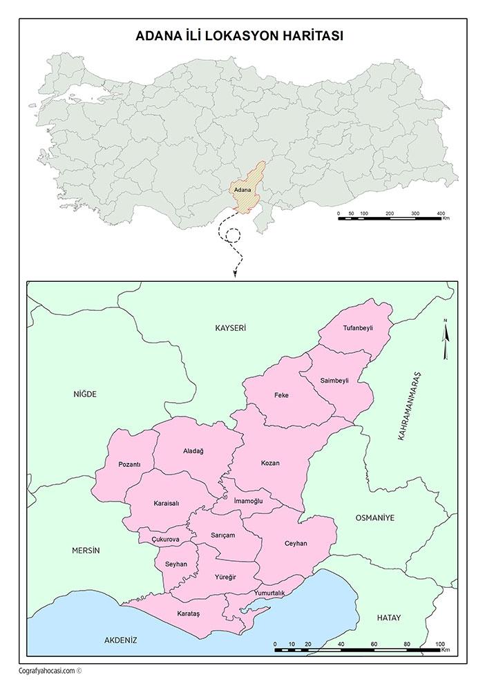Adana İli Lokasyon Haritası