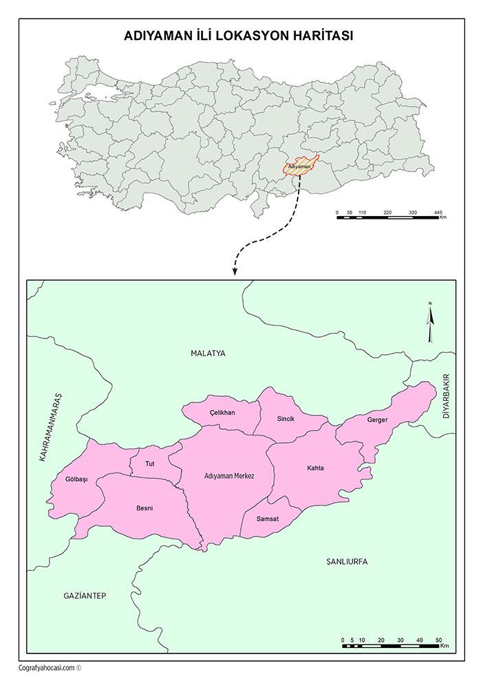 Adıyaman İli Lokasyon Haritası