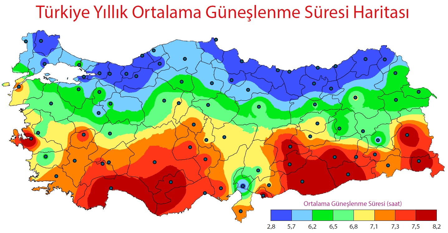 Türkiye Ortalama Güneşlenme Süresi Haritası