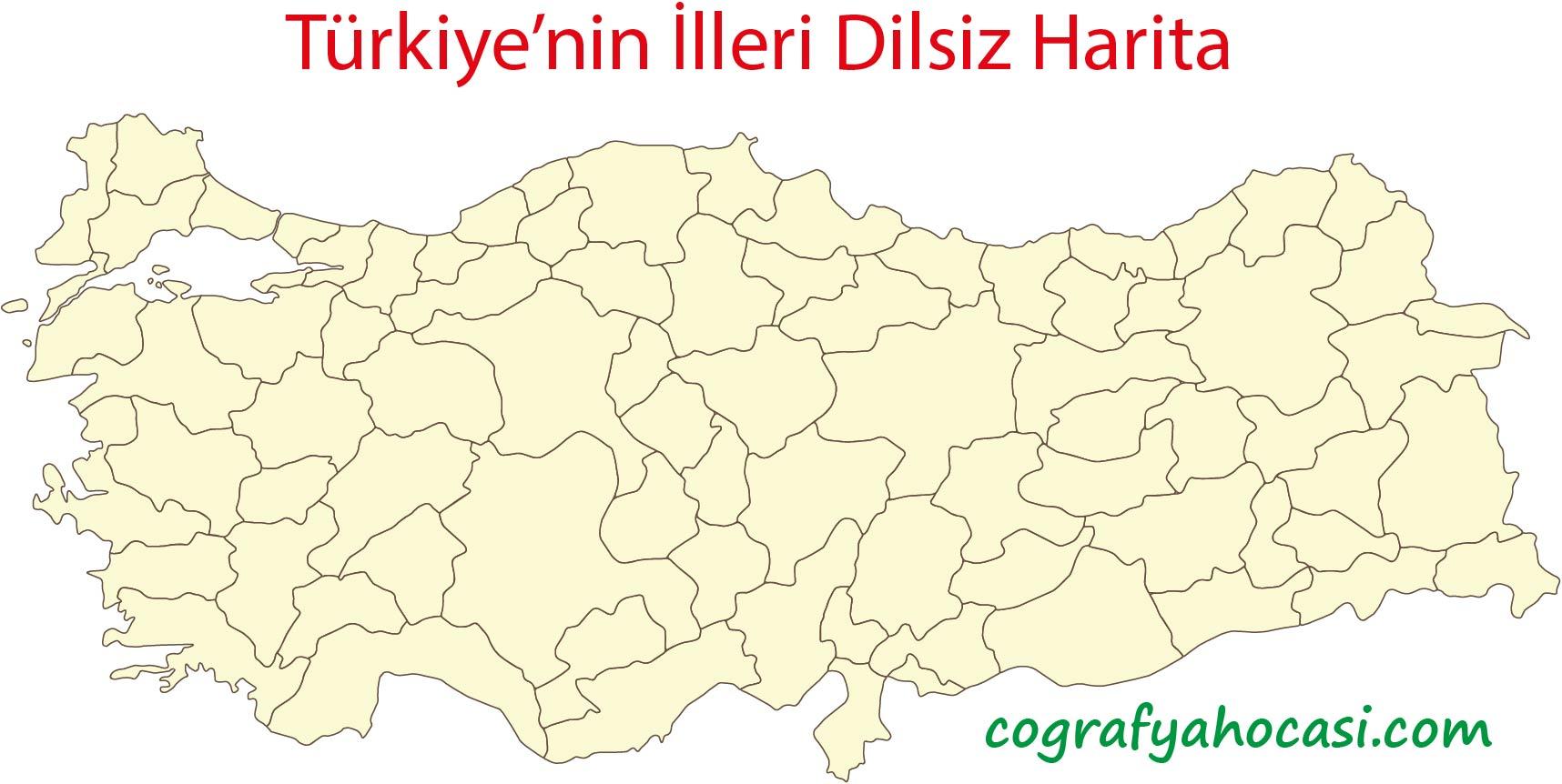Türkiye'nin İlleri Dilsiz Harita
