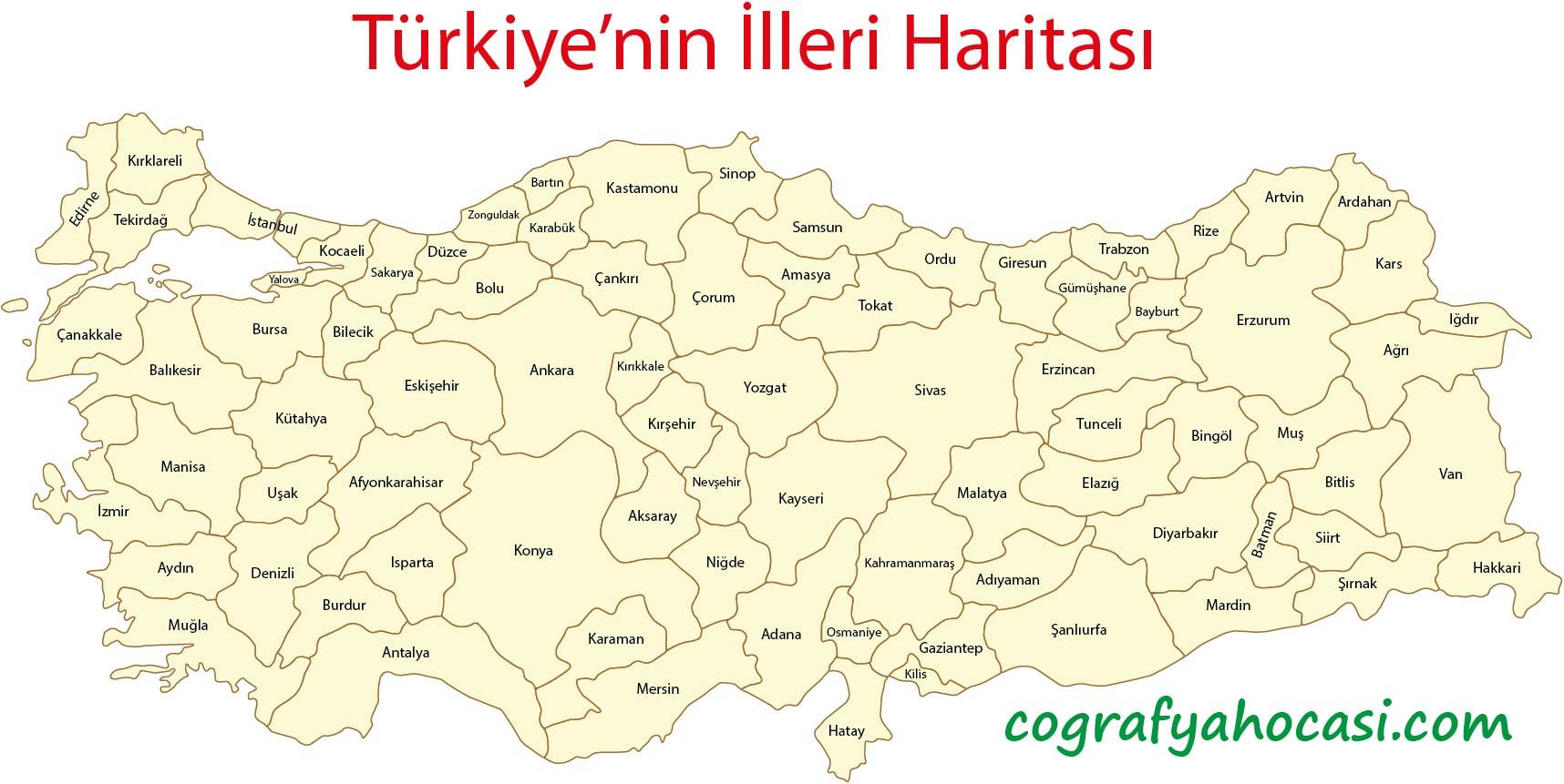 Türkiye'nin İlleri Haritası