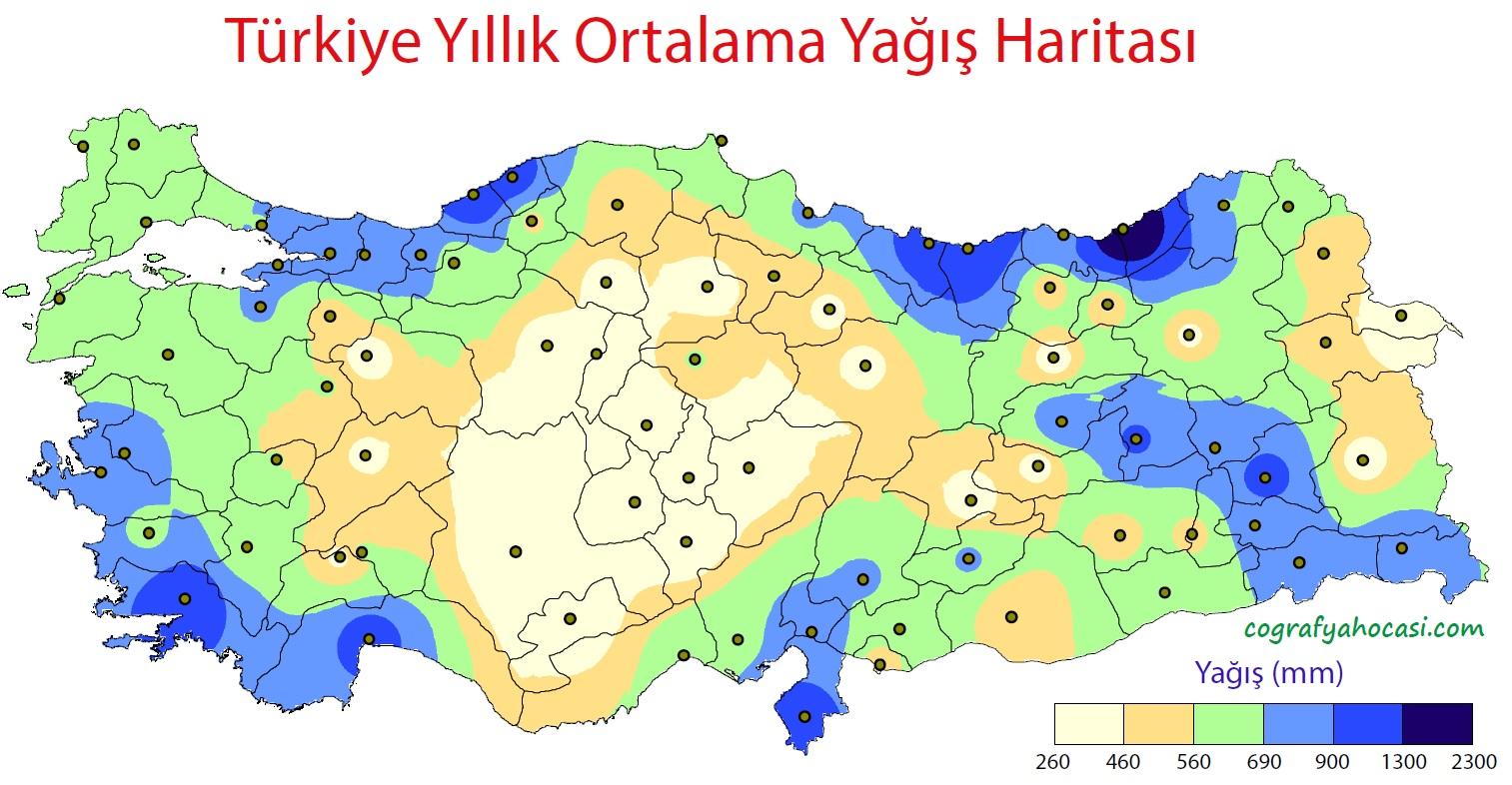 Türkiye'nin Yağış Dağılış Haritası