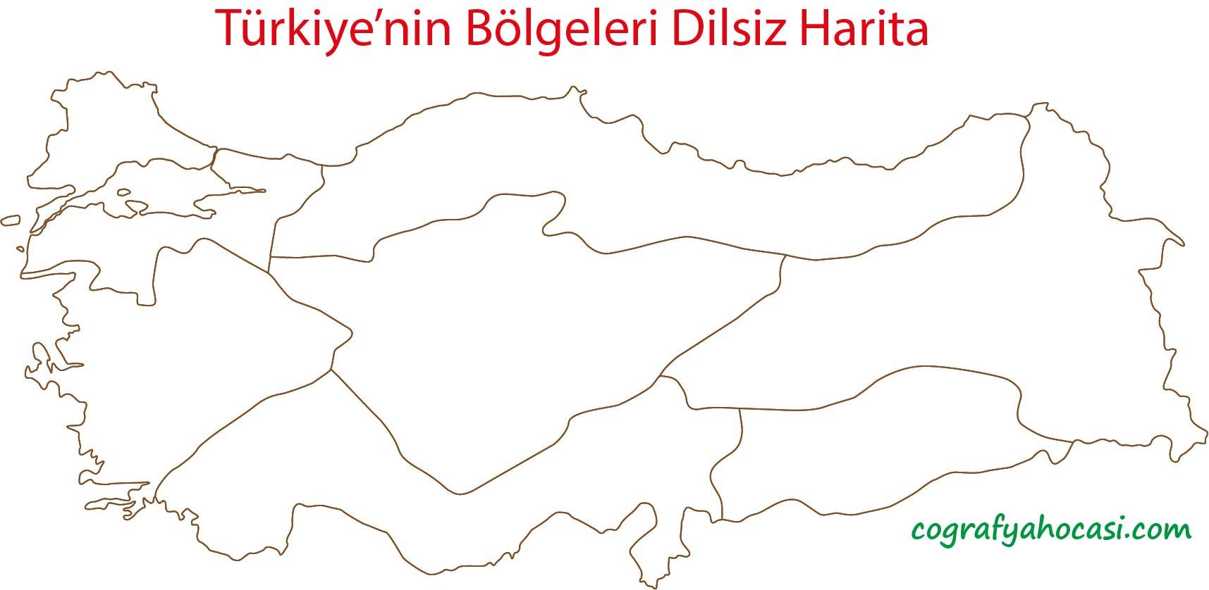 Türkiye'nin Bölgeleri Dilsiz Harita
