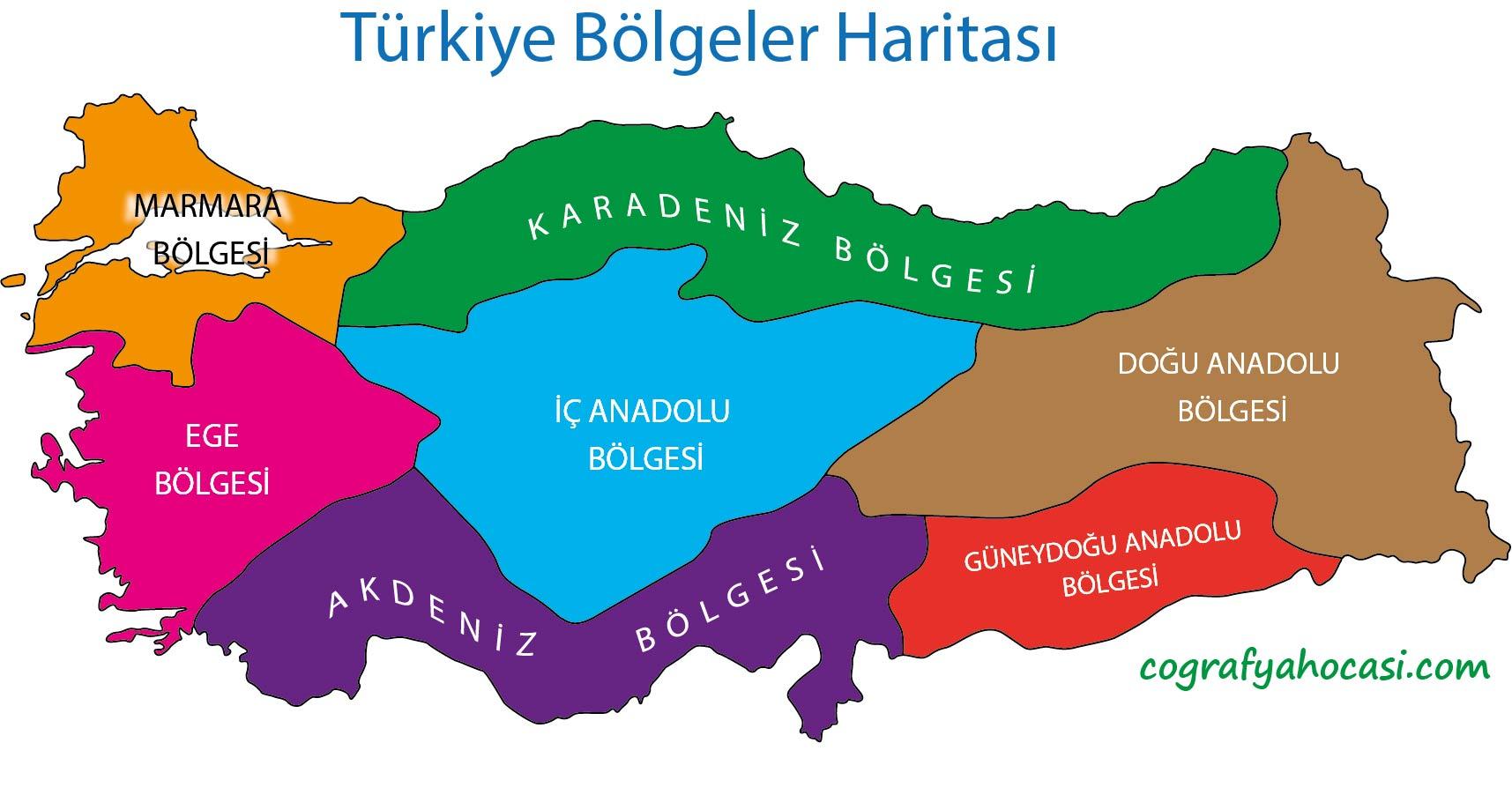 Türkiye Bölgeler Haritası (Renkli)