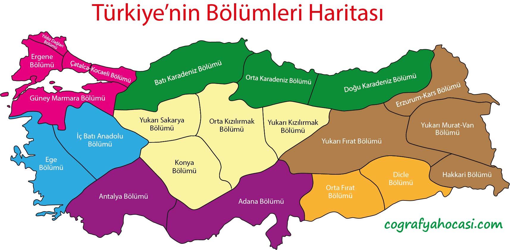 Türkiye'nin Bölümleri Haritası (Renkli)