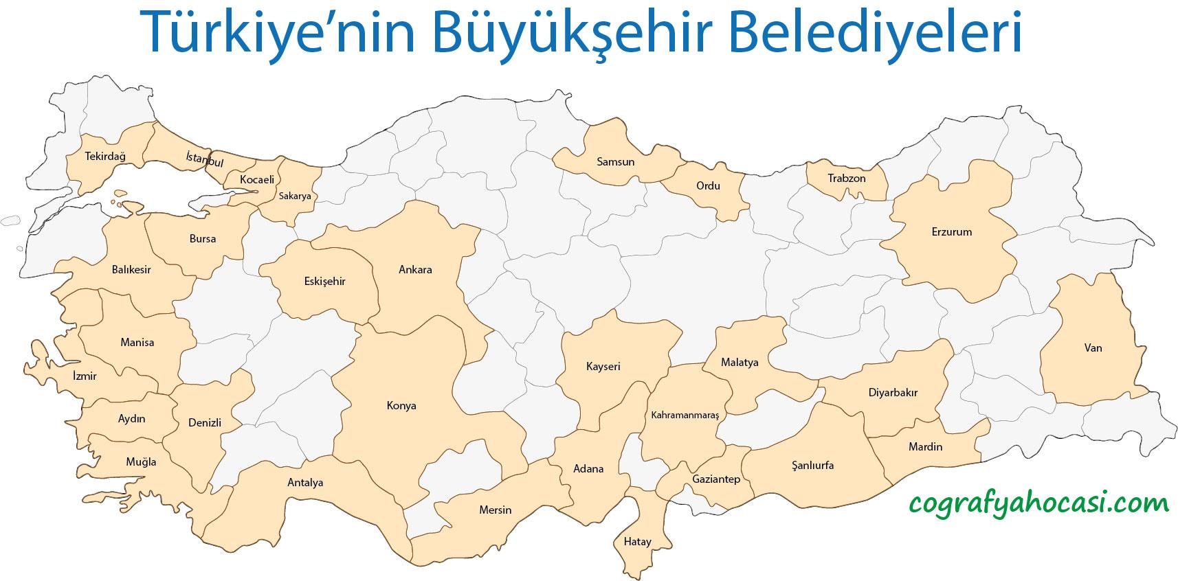 Türkiye'nin Büyükşehir Belediyeleri Haritası