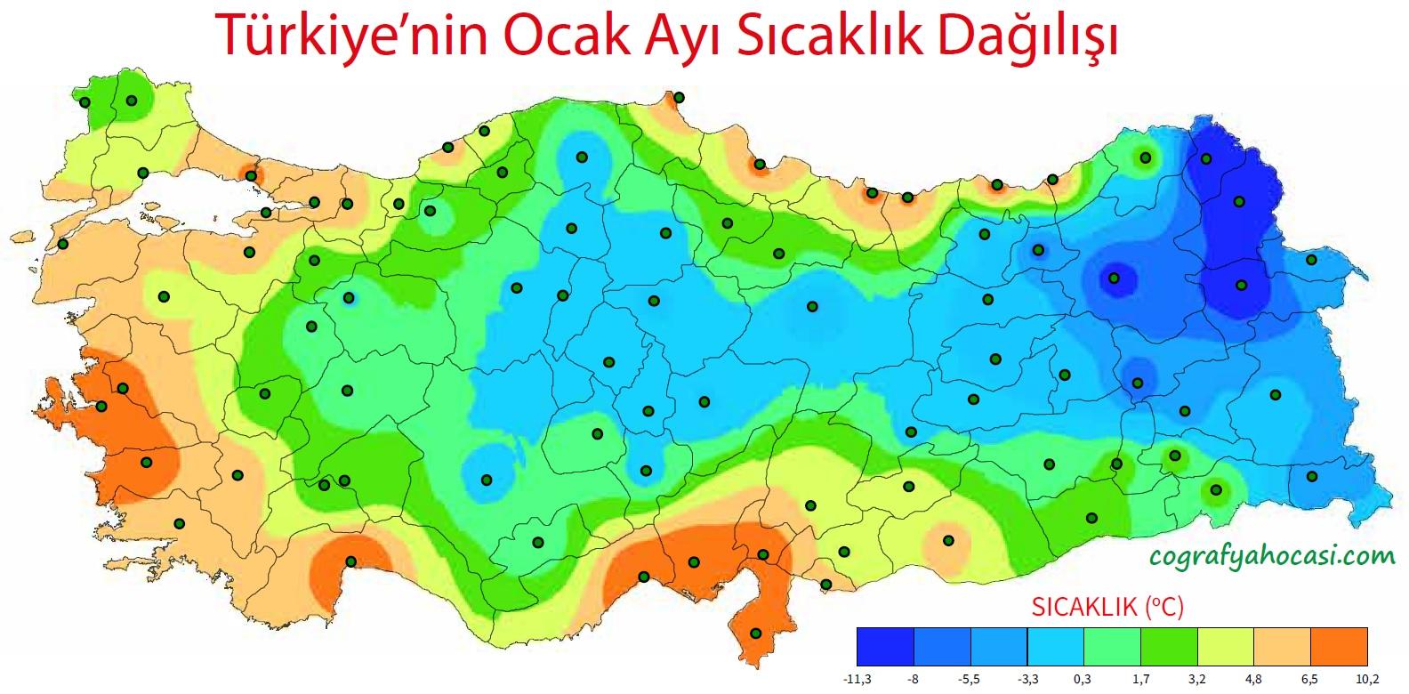 Türkiye'nin Ocak Ayı Ortalama Sıcaklık Dağılış Haritası