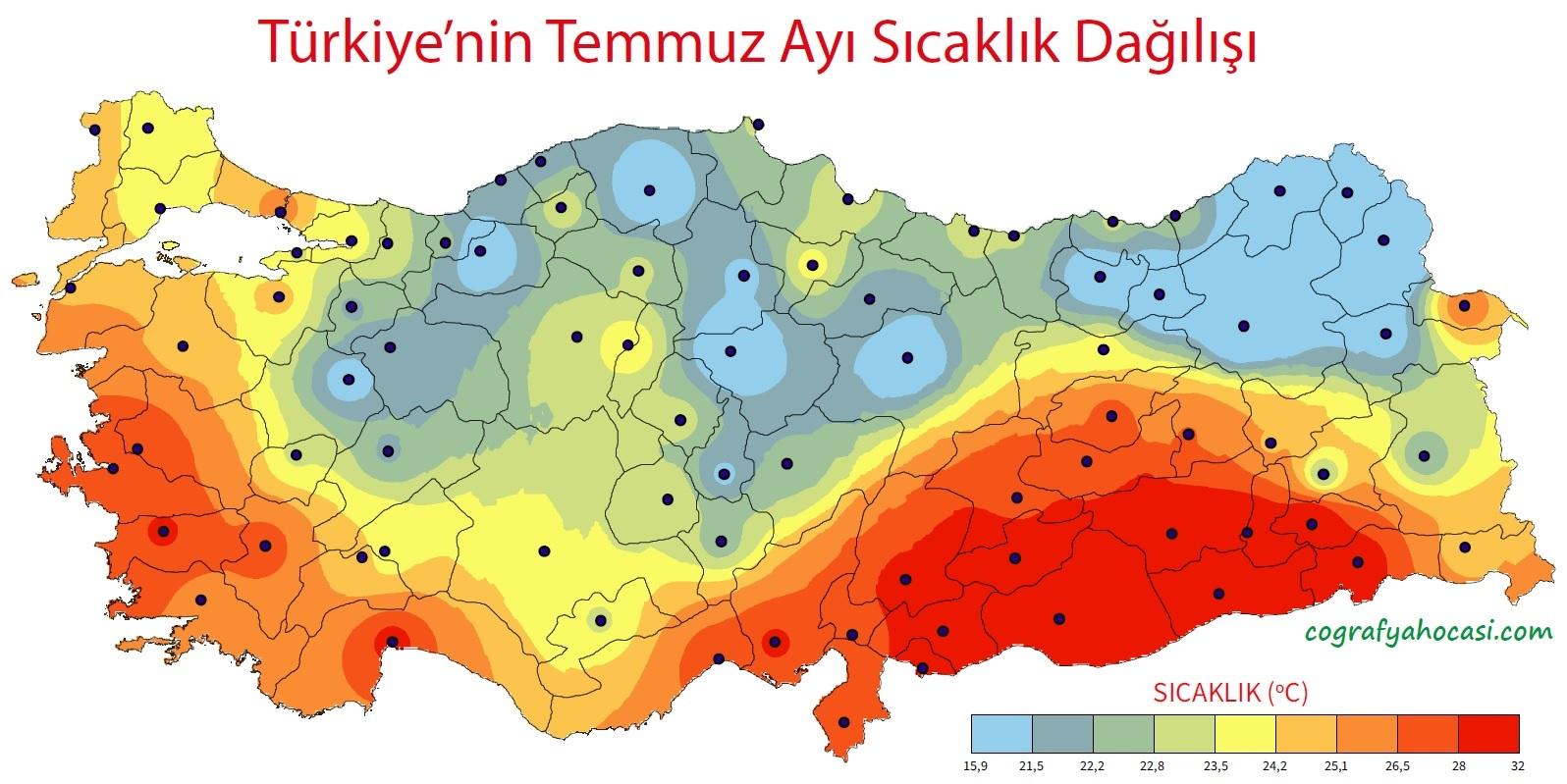 Türkiye'nin Temmuz Ayı Ortalama Sıcaklık Dağılış Haritası