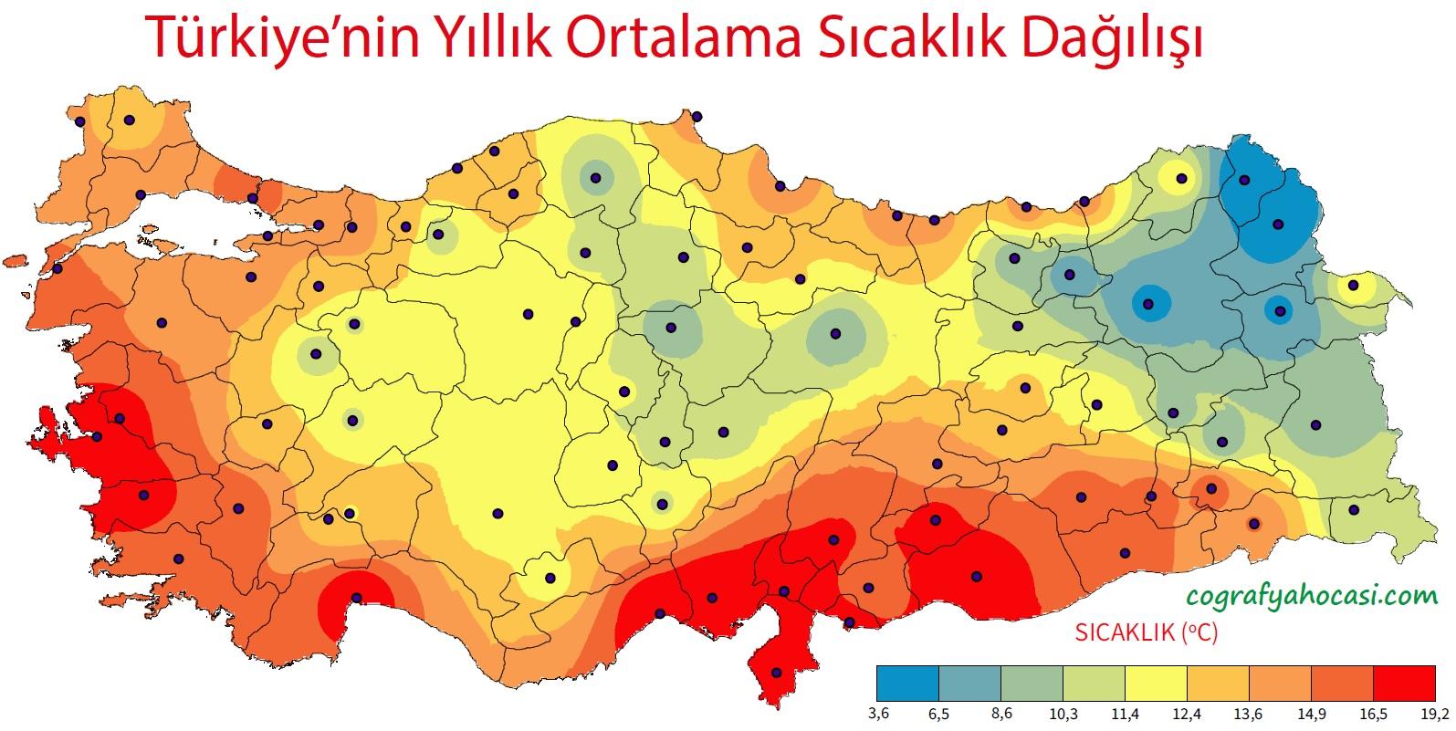 Türkiye'nin Yıllık Ortalama Sıcaklık Dağılış Haritası