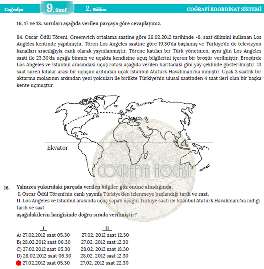 Coğrafi Koordinat Sistemi Ölçme Değerlendirme Cevapları