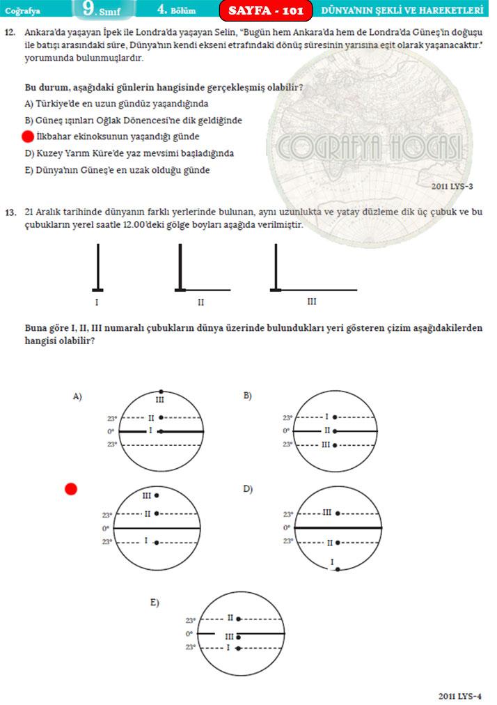 Dünya'nın Şekli ve Hareketleri Ölçme Değerlendirme Cevapları Sayfa 101