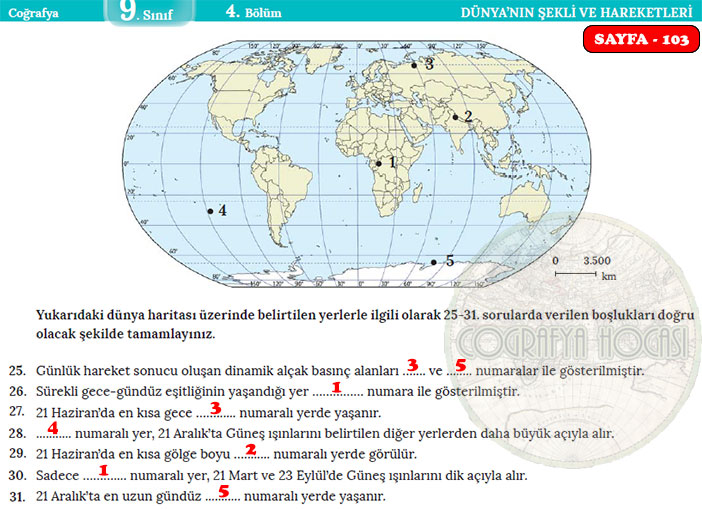 Dünya'nın Şekli ve Hareketleri Ölçme Değerlendirme Cevapları Sayfa 103