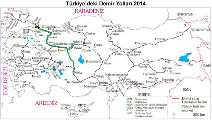 Türkiye'nin Demir Yolları Haritası