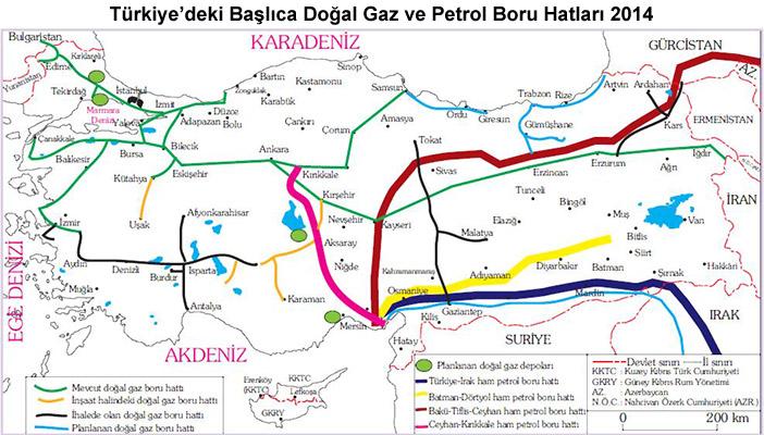 Türkiye'nin Doğal Gaz ve Petrol Boru Hatları Haritası