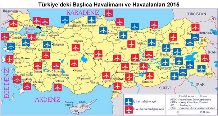Türkiye'nin Havalimanları ve Havaalanları Haritası