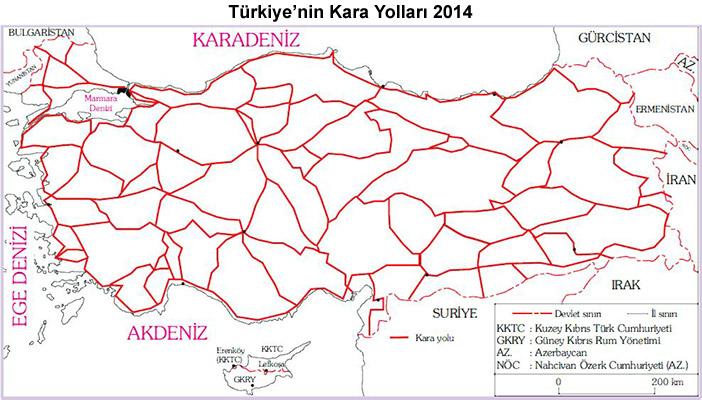 Türkiye'nin Kara Yolları Haritası