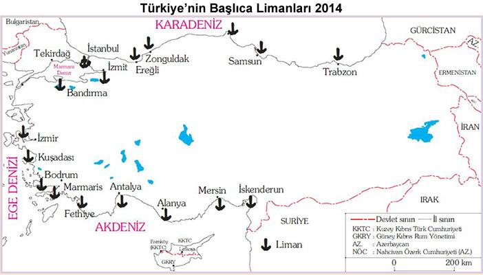 Türkiye'nin Limanları Haritası