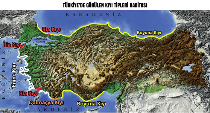 Türkiye'de Görülen Kıyı Tipleri Haritası