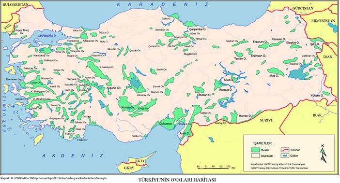Türkiye'nin ovaları haritası