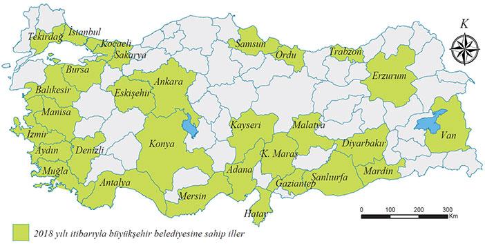 Büyükşehir belediyesi olan iller haritası