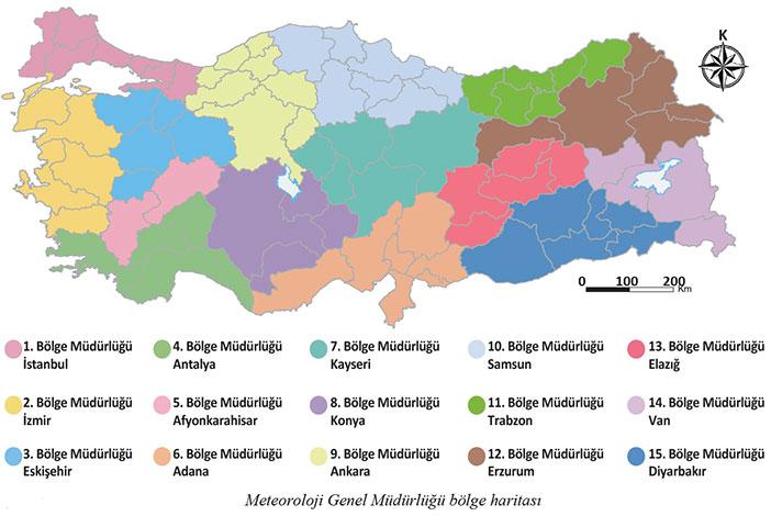 Meteoroloji genel müdürlüğü bölge haritası